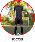 Soccer player in his sublimated soccer manufactured kit