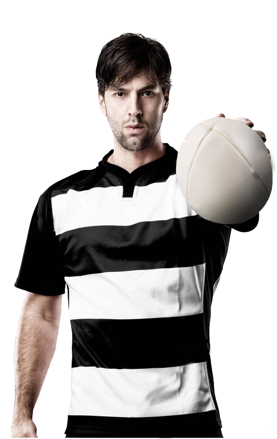 Rugby player holding rugby ball.
